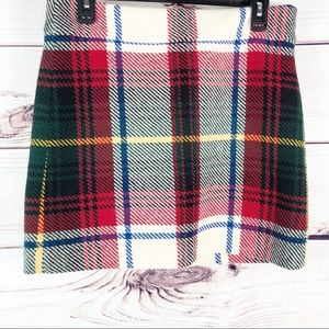SK66 J Crew 100% wool plaid mini skirt